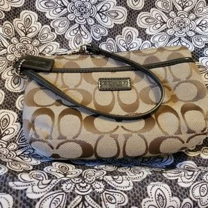 Brown Coach wristlet wallet